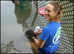 Cora Berchem feeds a manatee calf at Wildtracks in Belize