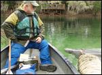 Wayne Hartley and manatee at Blue Spring State Park