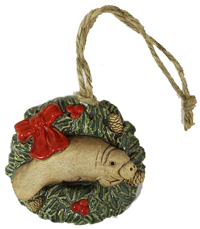 manatee wreath holiday ornament